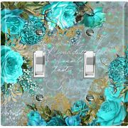 Metal Light Switch Cover Wall Plate For Room Elegant Teal Floral Damask Flw086
