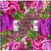 Metal Light Switch Cover Wall Plate For Room Elegant Purple Floral Damask Flw087