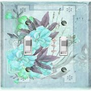 Metal Light Switch Cover Wall Plate For Room Floral Postcard Damask Teal Flw094