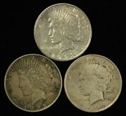 Lot Of 1922, 1923-s And 1924 1 Peace Silver Dollars - Free Shipping Usa
