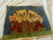Antique 1920s Kittens In A Basket Silk Tapestry Small Wall Hanging 16 1/2 X 13