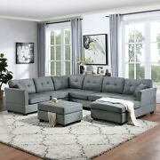 Contemporary U-shaped Sectional Sofa W Ottoman Pillows Living Room Furniture