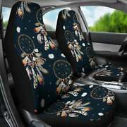 Dream Catcher Pattern Black Car Seat Covers Pair, 2 Front Seat Covers, Car Seat