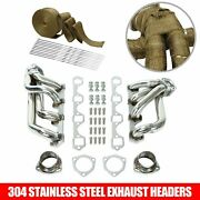 For 64-77 Ford 260 289 302 Stainless Steel Shorty Headers Exhaust Manifold +wrap
