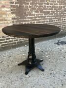 Antique 1900and039s Cast Iron Table With Oak Top