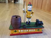 Circus Trick Dog Mechanical Piggy Bank Solid Cast Iron Metal 8 Inches And 4 Lbs