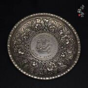 Chinese Old Tibetan Silver Copper Hand-carved Dragon Antique Plates
