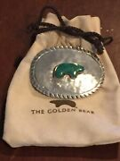 Golden Bear Vail Hand Hammered Sterling Silver Belt Buckle Turquoise Large Pouch