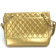 Coco Ball Matelasse Chain Tote Shoulder Bag Lambskin Women And039s Gold _25663