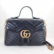 Gg Marmont Small Top Handle Bag Leather Black 498110 Quilting Secon _31409