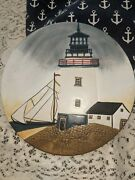 David Carter Brown Andldquoby The Seaandrdquo Hand Painted Lighthouse Sailboat Trivet