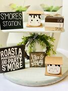 Farmhouse S'mores Station Wood Sign Tier Tray Kitchen Home Decor Marshmallow