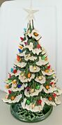 """Vintage Christmas Light Up Ceramic Tree And Base Holland Mold Star Topper 18"""" Bird"""