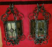 Antique Pair Of Italian Large Iron Sconces Outdoor Stained Glass Gothic Spanish