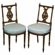 Ornate Pair Of Important Hand Carved Giltwood Occasional Chairs Phoenix Harp