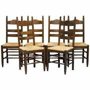 Lovely Suite Of Six Circa 1940 Dutch Ladder Back Oak Rush Seat Dining Chairs 6