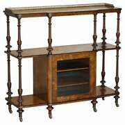 Fine Burr Walnut With Brass Gallery Rail Open Library Bookcase Etagere Whatnot