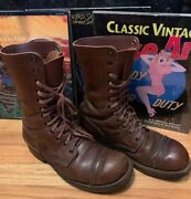 Vintage 40s Wwii U.s. Army Paratrooper Combat Brown Leather Jump Boots. 9 D
