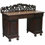 Lovely Anglo Burmese 19th Century Hand Carved Sideboard With Drawers And Cupboards