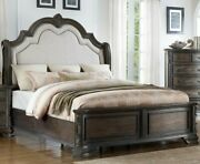 Traditional Style Master Bedroom Sturdy 1pc Queen Size Bed Upholstered Headboard