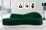 Contemporary Style 2pc Sectional Sofa Green Color Velvet Deep Button Tufting
