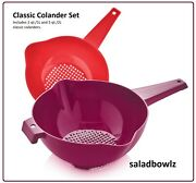 Tupperware New Classic Colander Set Of 2 Colanders 1 And 2 Qt In Red And Vineyard