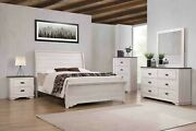 4pc Master Bedroom Set Chalk Finish King Size Sleigh Curve Bed Wooden Furniture