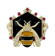 Halloween Sale 0.75ct Natural Diamond Cocktail Ring 18k Yellow Gold Ruby Jewelry