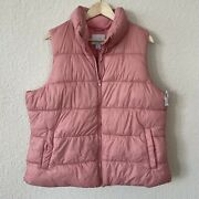 Old Navy Womenandrsquos Light Pink Salmon Quilted Puffy Zip Up Vest - Size Xlandnbsp