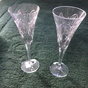 Waterford Crystal Toasting Flute Pair The Millennium Collection 2000 Happiness
