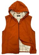 Loro Piana Orange Vest With Hood Size Large, Made In Italy