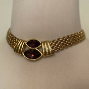 Necklace Choker Gold Plate 2 Faceted Purple Crystals 15andrdquo Free Ship