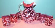 Vintage Fenton Cranberry Opalescent Daisy And Fern Water Set 7 Piece Pitcher And