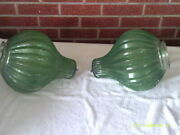 Vitg. Mid Century Pair Of Large Glass Swag Lamp Shadesribbed Design-green Textu