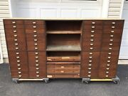 Antique Vintage Apothecary Cabinet Industrial Wood Hardware 56 Drawer Storage