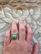 Native American Ring With Turquoise Mountain By Navajo Artist Bo Reeves