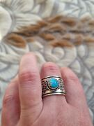 Native American Ring With Golden Hill Turquoise By Navajo Artist Bo Reeves