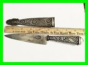 Antique Ornate Pampa Alpaca Silver Gaucho Boot Knife And Sheath From Argentina