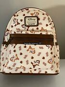 Brand New Loungefly Disney Chip N Dale All Over Print Aop Mini Backpack
