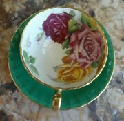 Vintage Green Aynsley Orban Three Cabbage Roses England Teacup And Saucer