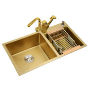 Kitchen Sink 304 Stainless Steel Gold Double Bowl With Faucet Tap Above Counter