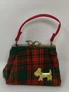 Vintage Red Green Plaid Child Large Doll Sized Scottie Dog Purse So Cute