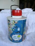 Esso Travel Thermos Skotch Kooler Happy Motoring Map Of Usa 1960and039s W/paperwork