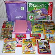 Leapfrog Leappad Learning System Purple Pink 10 Books Cartridges Case Free Ship