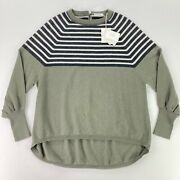 New Brunello Cucinelli Womenandrsquos Cashmere Sweater Military Stripes Beaded Andbull Xs