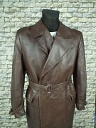 1940and039s German Leather Coat Xl Vintage Military Aviator Motorcycle Overcoat Ww2