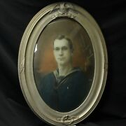 1918 Wwi Hand Painted Navy Sailor Photo Oil Oval Bubble Glass Frame Usa Flag