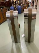 Karl Springer Brass Chrome Andirons Mid Century Heavy Hollywood Fireplace