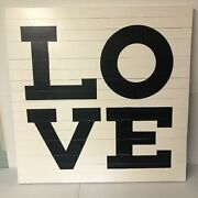Pottery Barn Love Sign Black And White 40x40 Square Reclaimed Wood Wall Hang Nob