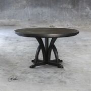 Mission Style Xxl 56 Mangon Wood Weathered Black Dining Table Uttermost 25861